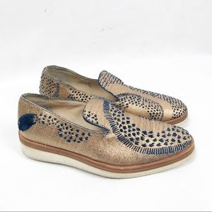 Free People Gold Snake Eyes Loafers